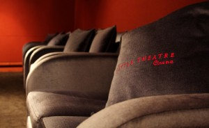 Plush brown seats at the Little Theatre