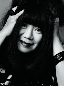 Black and white image of Anna Sui