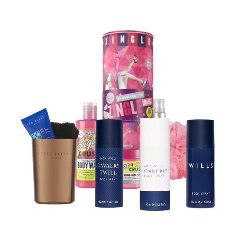 Ted Baker Bathroom Mug £8.00, Jack Wills Body Spray Trio £15.00, Soap & Glory Zingle Belles £16.00 from boots.com.