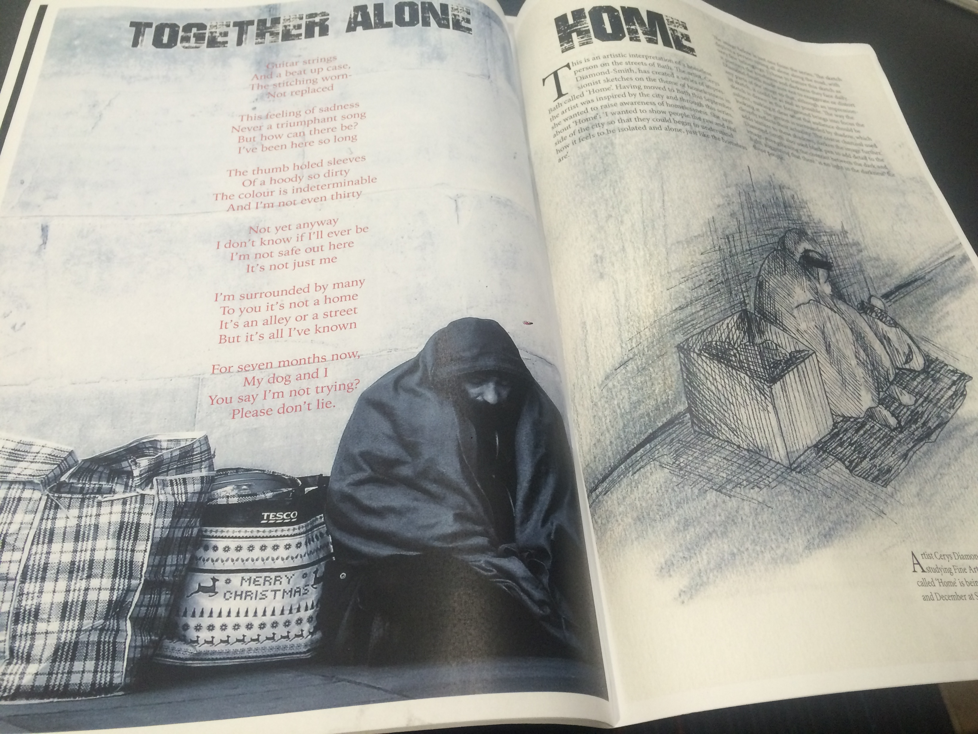 Some powerful poetry coupled with ghostly illustrations that feature in the zine