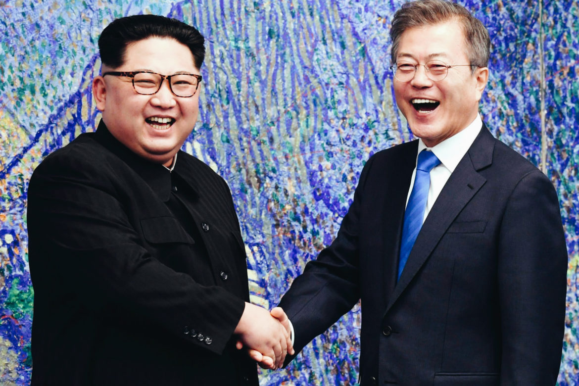 Korean leaders Kim Jong-Un and Moon Jae-in