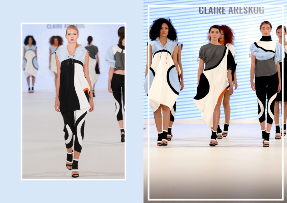 Models wear designs by Claire